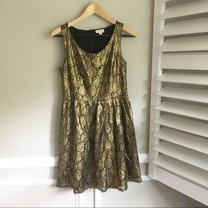 Maison Jules Black & Gold Cocktail Dress- Anthro